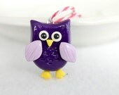 Cute Polymer Clay Owl Christmas Ornament