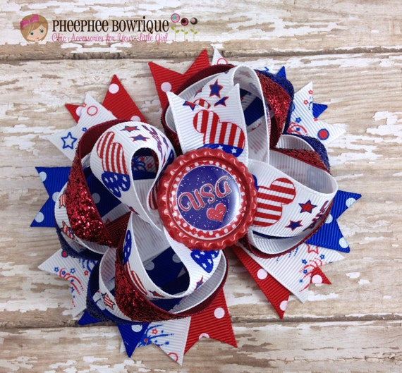 4th of July Hair Bow, Mickey Mouse Hair Bow, USA Hair Bow, Patriotic, American Flag, Baby Headband, Infant Headband, Newborn Headband, Red