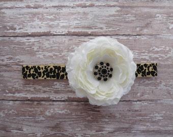 Ivory Flower Headband, Leopard headband, Ivory Clippie, Infant headband, Ivory Clippie, Flower Clippie, Flower Headband
