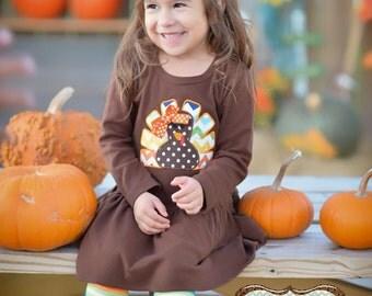 Girls Thanksgiving dress - girls turkey dress - Thanksgiving turkey dress - applique turkey dress - girls fall dress - toddler turkey dress