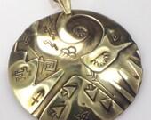 Aztec Sun Spirit Hand Forged Brass Pendant - Southwest Tribal Sun Aztec Symbols - Hand Forged Brass Sun Pendant - Southwest Gift Pendant