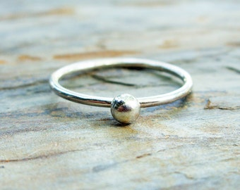 Simple Silver Ball Ring - Pebble Stacking Ring - Small Silver Orb Ring - Minimalist Ring in Recycled Silver