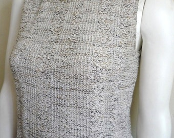 Vintage Women's 80's Knit, Tank Top, Cropped, Sleeveless, Cotton by Riba Rose (S/M)