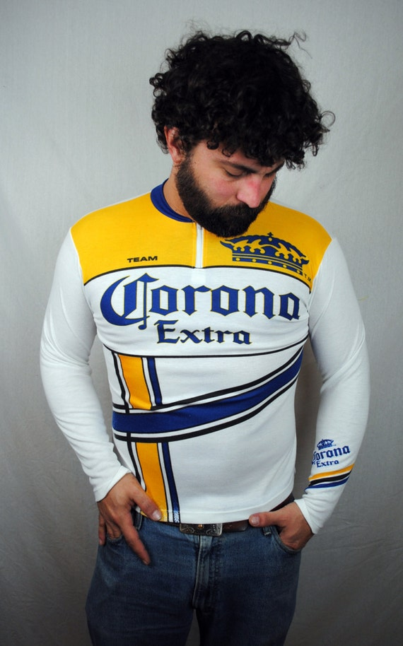 Vintage corona beer cycling bike jersey shirt for Craft beer cycling jerseys