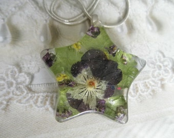 Pansy,Alyssum, Queen Anne's Lace Pressed Flower Star Pendant-Gifts Under 30-Symbolizes Loyalty, Worth Beyond Beauty, Peace-Nature's Art