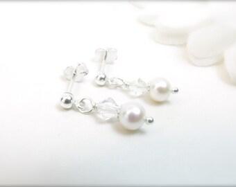 Flower Girl Earrings - Sterling Silver or Gold-Filled // Custom Flower Girl Earrings // Child Pearl Earrings // Small Pearl Earrings