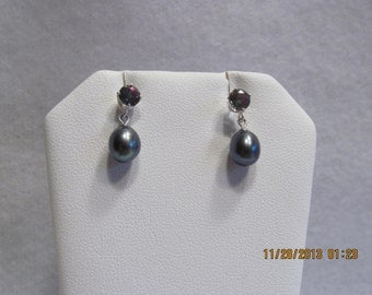 Freshwater Pearl Drops with Mystic Topaz Studs