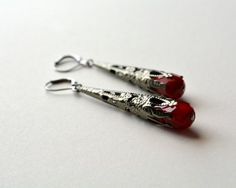Gothic Victorian Earrings Long Dangle Vampire Earrings Dark Silver Gunmetal Blood Red Drop Dangle