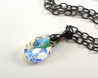Clear Teardrop Necklace Dark Silver Gunmetal Swarovski Crystal Pendant Necklace Aurora Borealis Finish Sparkly Teardrop