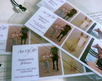 Art of JP Bookmarks, Horse Themed Fine Art Pictures Laminated Forever Bookmarks