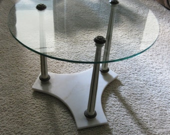 Glass Coffee Table Vintage Marble Hollywood Regency Round Table Poppy Cottage Painted Furniture