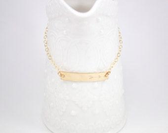 Gold filled bar Bracelet - Gold filled Bar Arrow Bracelet - Personalized ID gold filled bracelet -  layer bracelet - gift for her