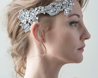 Glamorous bridal head piece with zech crystals, silver tone lace.