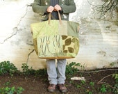 Tree Hugger Weekender - Green, Mustard, Light Brown Leather Canvas Luggage