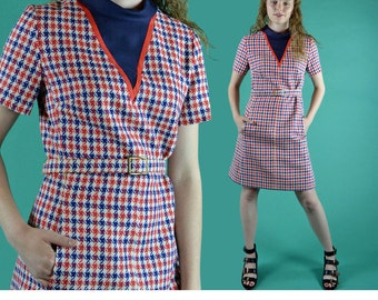 Vintage 60s Dress Mod Mini Dress / Red White Blue Houndstooth Retro Stewardess Shift Dress Twiggy Sheath Dress 1960s Mod Dress S / M