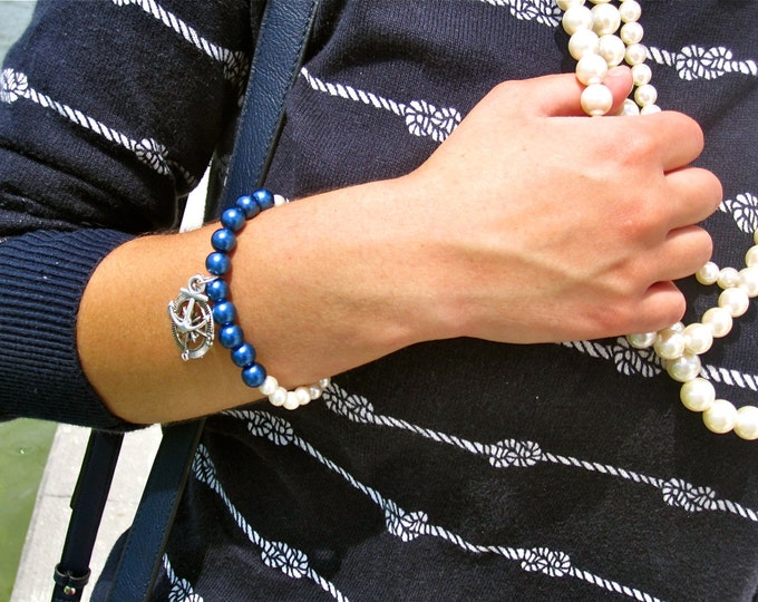 Preppy Nautical Anchor and Compass Pearl Bracelet.