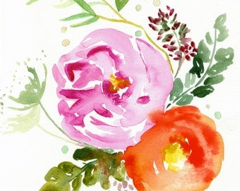 Eva -  Watercolor Painting - Abstract Floral - Pink - Peony - Illustration - 11x11 Giclee Print - Home Decor