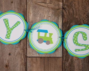 Train Themed BABY SHOWER Banner - Train Baby Shower Decorations in Aqua Blue & Green