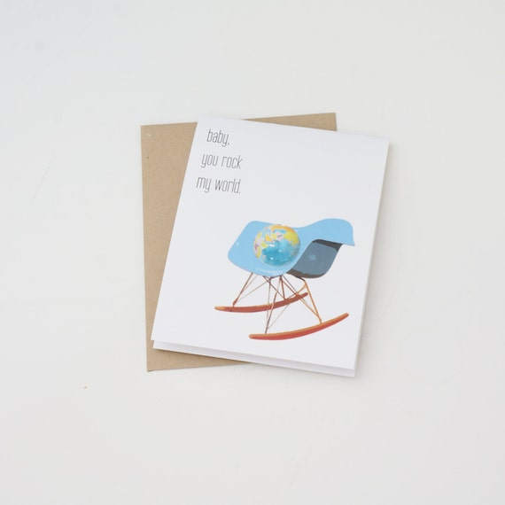 Funny Card, Husband Card, Wife Card, Girlfriend Card, Boyfriend Card, Midcentury Modern Card, Eames Rocker, Baby You Rock My World