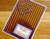 SALE! 50% OFF! - Happy Halloween Handmade Cross Stitch Card in Black, Orange and Purple.