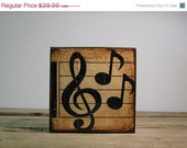 ON SALE Music Notes Painted Wood Art Block--MatchBlox Mix and Match Art Blocks-1745