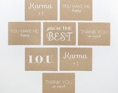Mini Thank You Notes - Set of 8 - Blank Cards - screen printed - kraft - recycled - rustic - thank you - congrats - love - funny