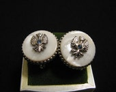 Antique Silver Tone White Mother of Pearl and Blue Topaz Eagle Crest Screwback Earrings
