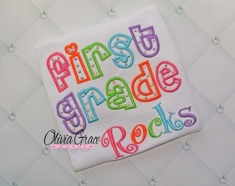 First Grade Rocks, Back to School Shirt, Kindergarten, 1st grade, Embroidered Shirt with rhinestones