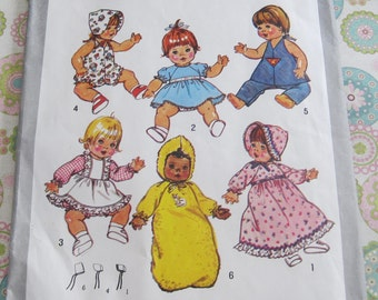 "Vintage Simplicity Sewing Pattern 9753 Wardrobe for Baby Dolls 15"" - 16"""