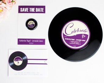 Rock and Roll Wedding Invitation, Vinyl Record, Retro Invite, Custom Magnet, Save the Date, Music Theme, Unique Invitation, Record Player LP