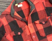 Fantastic Vintage  MENS GUYS 1950s 1960s LL Bean Buffalo Plaid-Checkered Shirt -- Size M