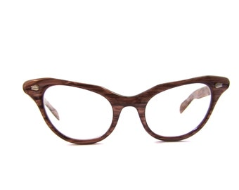 50s Liberty Brand Faux Woodgrain Cat Eye Eyeglasses Women's Vintage 1950's Woodgrain Frames USA