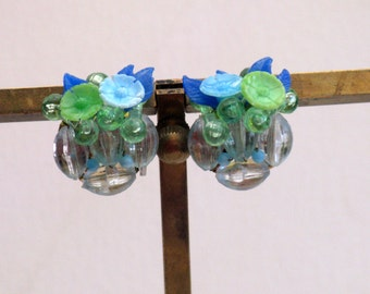 Vintage Blue and Green Floral Cluster Clip Earrings (E-1-7)