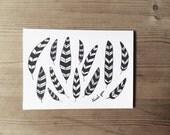 THANK YOU blank cards. Set of 6 w/envelopes. White. Hand drawn illustration. Nature inspired. Gift set. Stationery