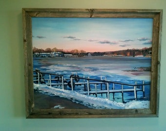 Boat Dock Original Landscape Oil Painting - 28x22 in On Sale