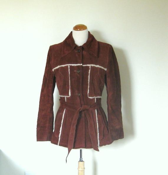 Vintage 70s suede coat /  shearling lined suede jacket / Boho Hippie 1970s jacket