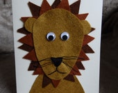 Lion birthday card BLANK lion card Lion greetings card Jungle card Safari card  Lion cub card animal card Felt lion kids birthday card roar