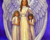 Guardian Angel art Victorian children spiritual artwork print of painting by Sue Halstenberg