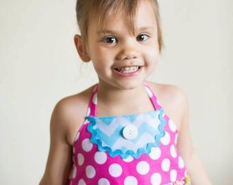 The Ainsley - Spring Summer Twirly Halter Dress - Baby Toddler Girl Designer Cotton Dress - Flowers Polka Dots