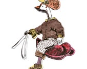 Goose Rider with Hat Magnet
