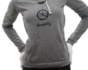 Simplify| Soft Lightweight pullover hoodie| organic cotton blend| Art by MATLEY| Bicycle| Great gift for her| Unicycle bike.