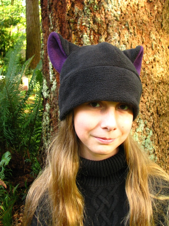 Mens Womens Fleece Kitty Cat Hat - Black / Aubergine Eggplant Purple Cat Ear Hat by Ningen Headwear
