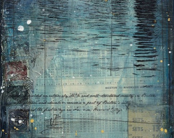 Across the Charles No. 1 paper print - mixed media Boston skyline painting collage