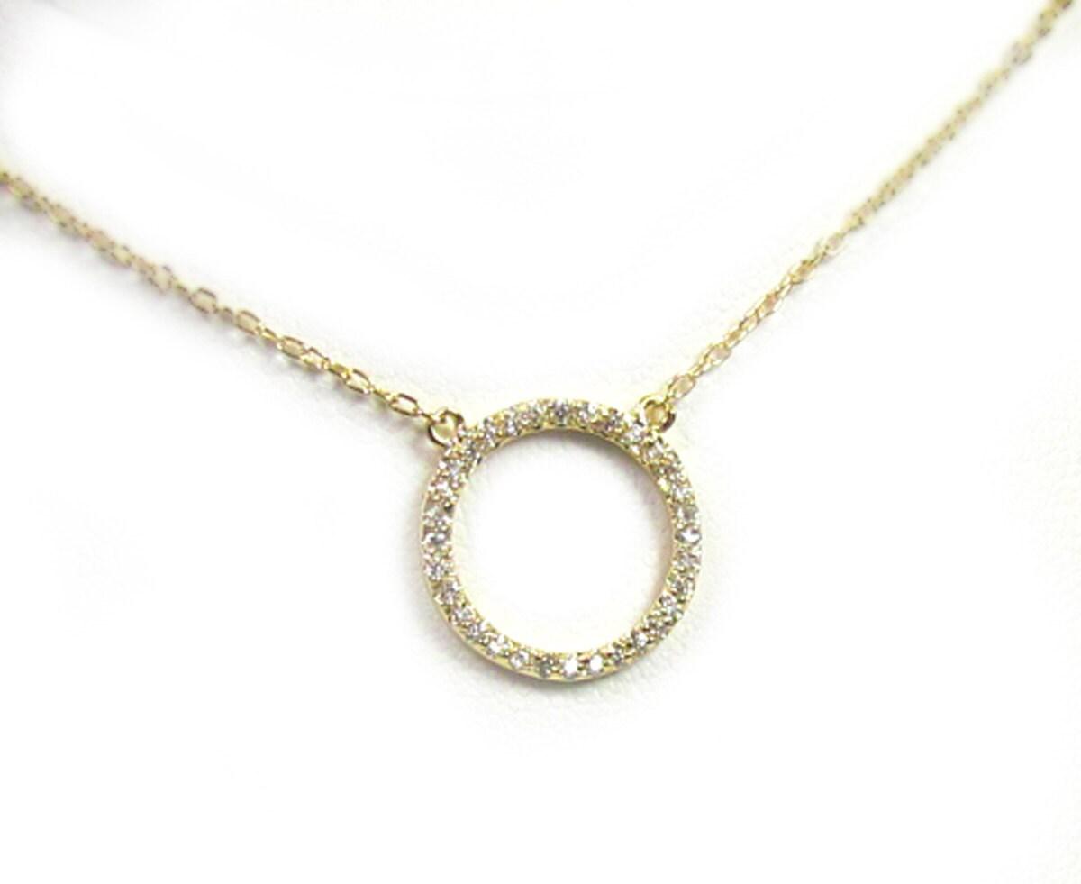 cz circle necklace eternity circle pendant cubic zirconia