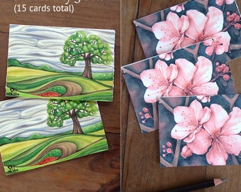 art print card sets,  flower note cards, botanical invitations, watercolor stationery set - choose any 3 card sets