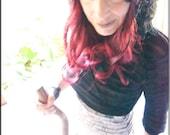 Bolero - Short Wrap Around - Hooded Top - Steampunk - Gypsy Goth - Burning Man - Playa Wear - Black Ruffles - Pixie - Size Small