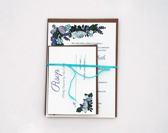 The Leena Collection - Floral Kraft Wedding Invitation Set in Lilac, Purple, Blue, Mint and Green - PURCHASE FOR A SAMPLE