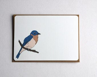 Flock of Birds Set 1 in Brown, Blue, Orange, Gray, Black and Taupe -Set of 4 flat Notecards and Kraft Envelopes
