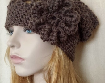 Beanie Hat Slouchy Cozy in Brown / Knit Crochet Tam Beret Hat / all Season Beanie Hat Available in 28 colors / Handmade Mesh Hat by Malasa