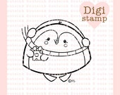Penguin Present Digital Stamp for Card Making, Paper Crafts, Scrapbooking, Hand Embroidery, Invitations, Stickers, Coloring Pages
